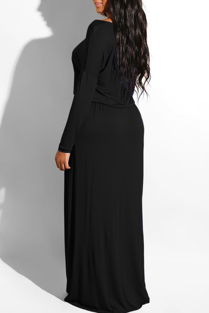 Off The Shoulder Drawstring Waist Maxi Dress