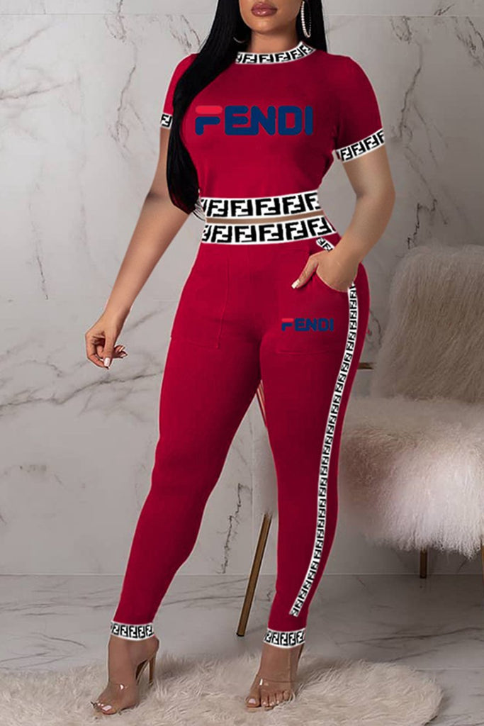 Pocket Solid Color Letter Print Two Piece Sets