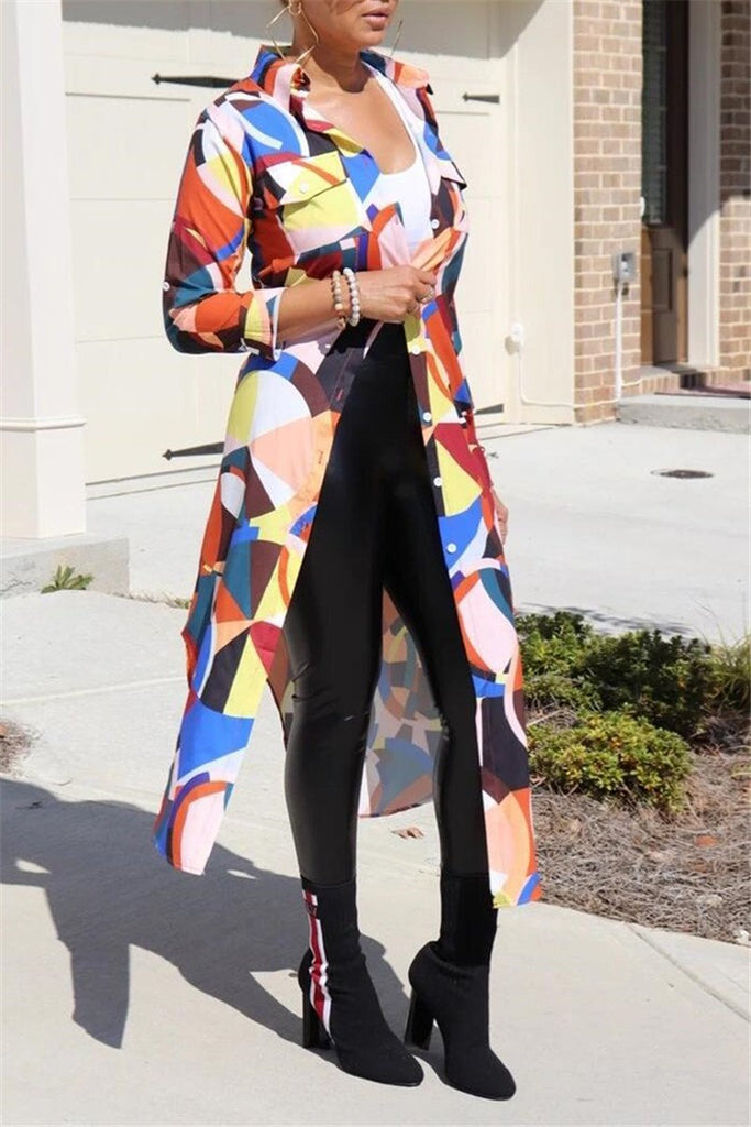 Button Up Printed Long Sleeve Cardigan