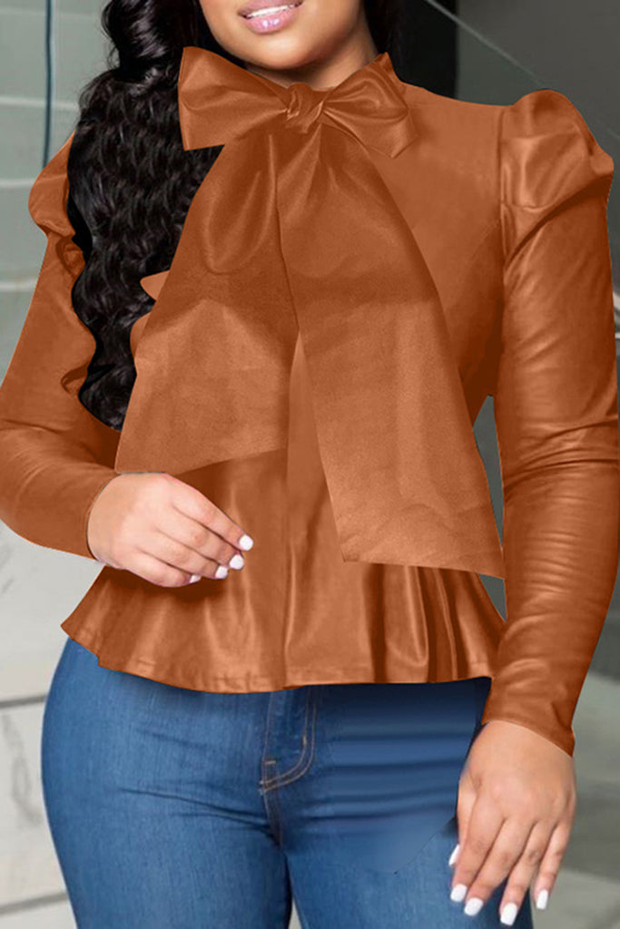 Bowknot Leather Ruffled Hem Top