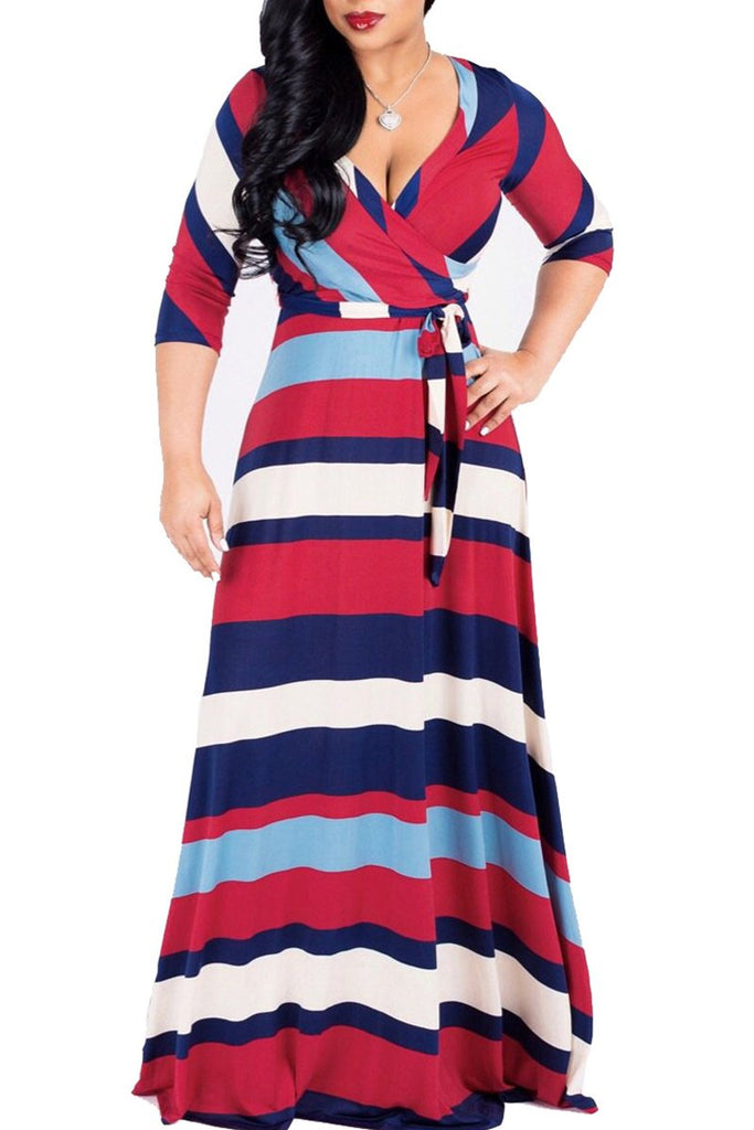 Stripe Print Deep V Neck Belted Maxi Dress