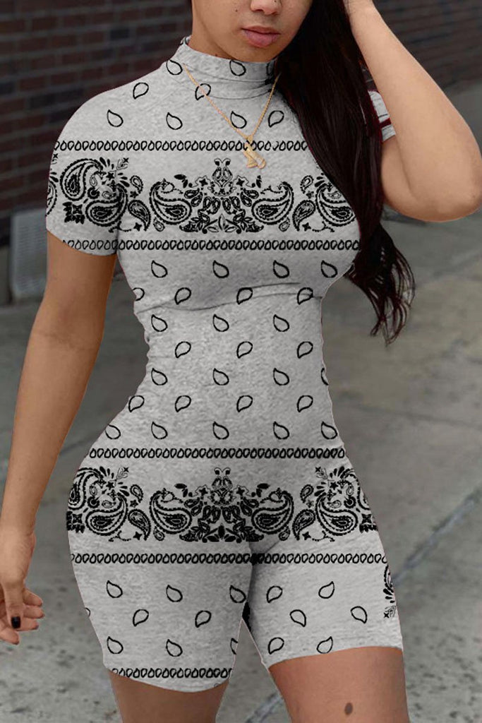 High Neck Print Plus Size Short Sleeve Romper