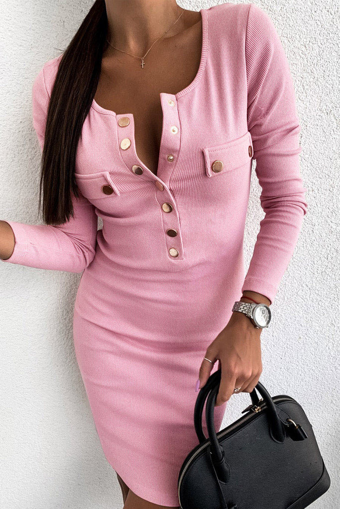 Solid Color Button Up Casual Mini Dress