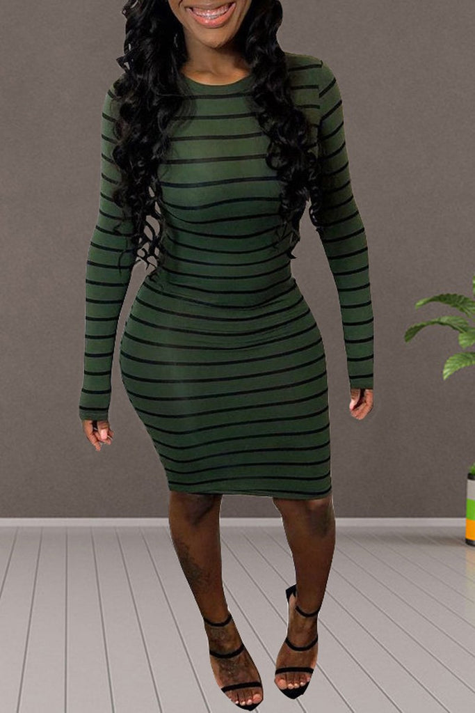 Stripe Print Long Sleeve Bodycon Midi Dress