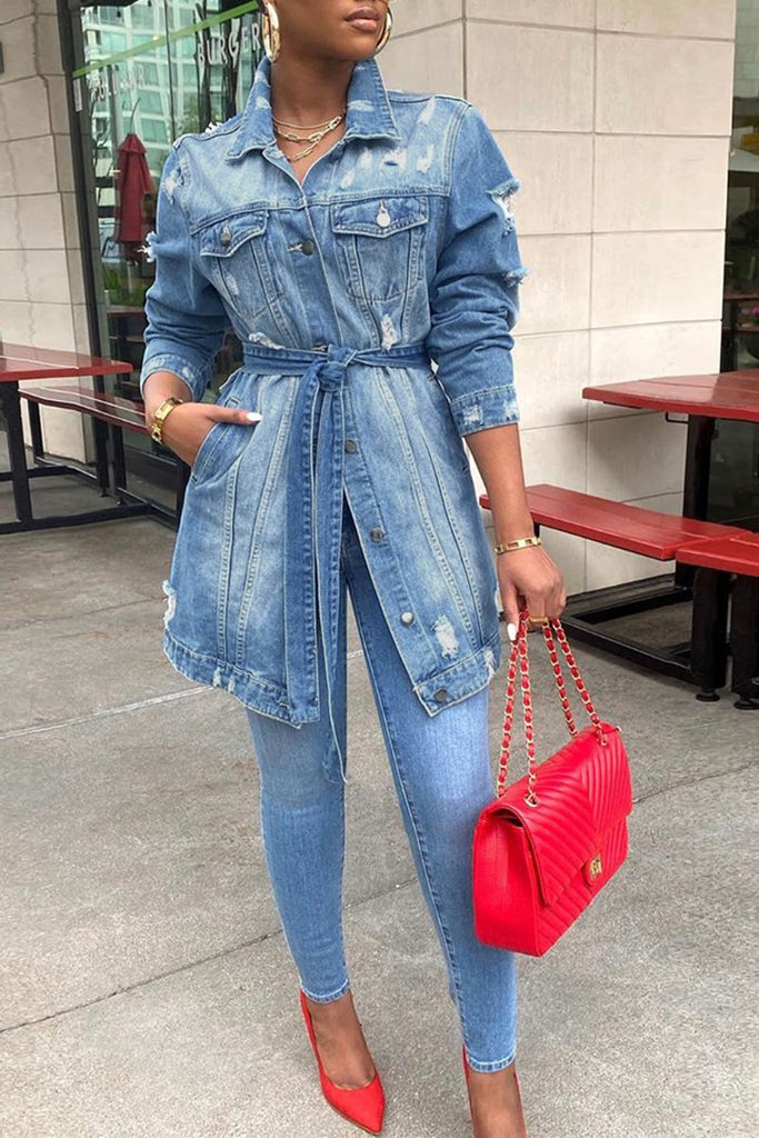 Denim Back Letter Print Belted Pocket Jacket