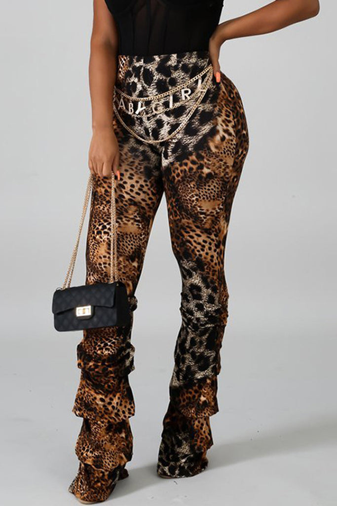 Leopard Print High Waist Stacked Pants
