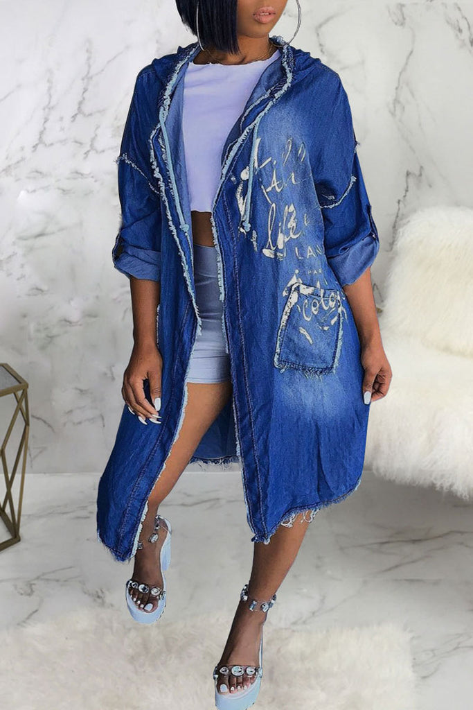 Denim Worn Out Hooded Collar Coat