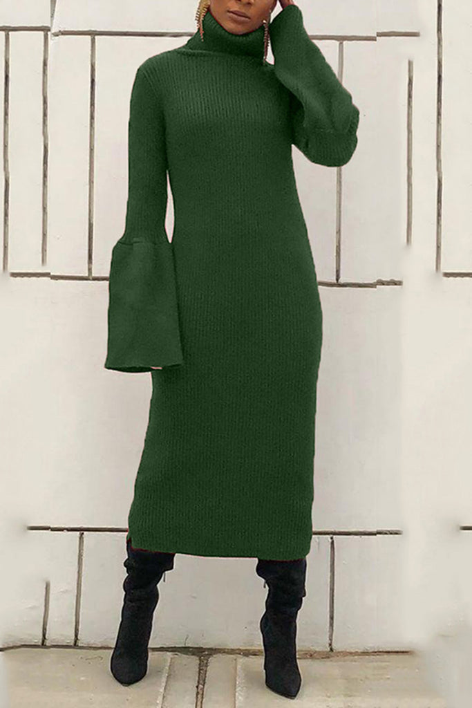Knitted Flared Sleeve Solid Color Maxi Dress
