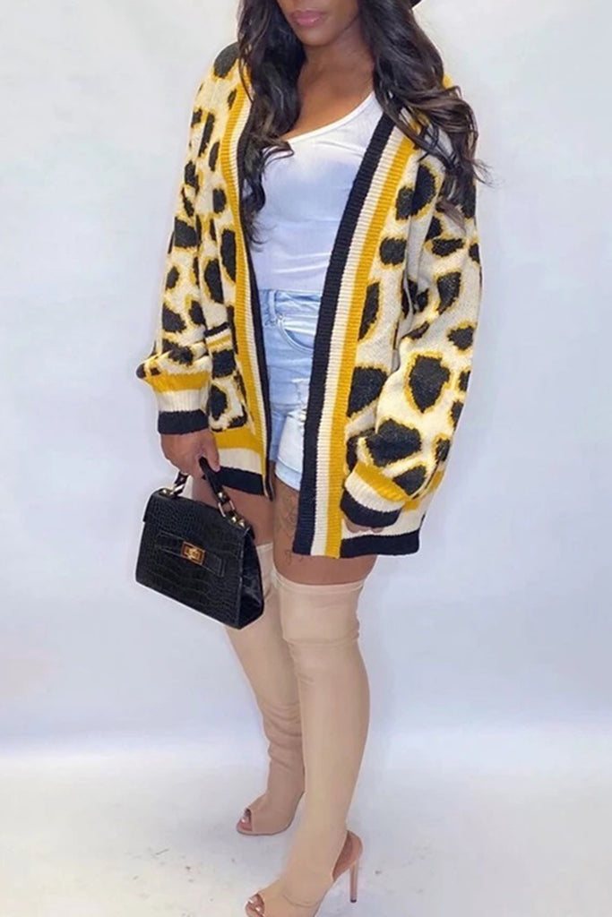 Knitted Leopard Print Pocket Cardigan