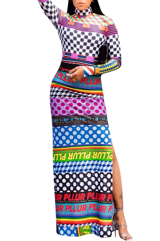 Colorful Printed Side Slit Casual Dress