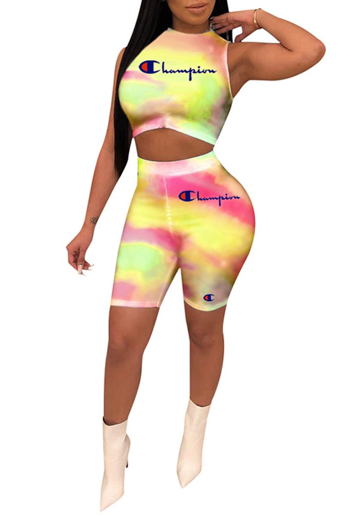Sleeveless Tie Dye Letter Print Two Piece Sets