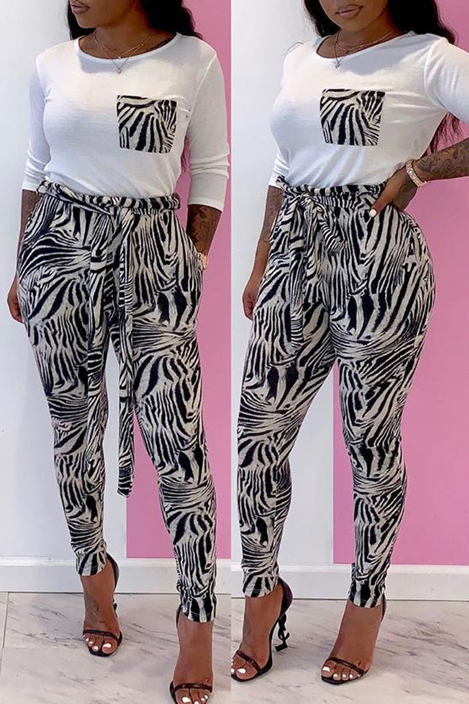Printed Splicing Pocket Two Piece Sets With Belt