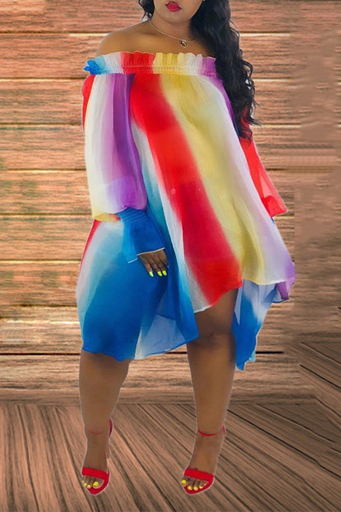Colorful Stripe Puff Sleeve Off The Shoulder Casual Dress