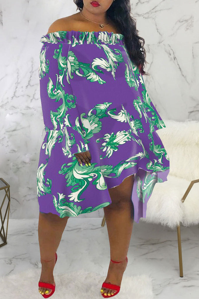 Asymmetric Hem Off The Shoulder Midi Dress