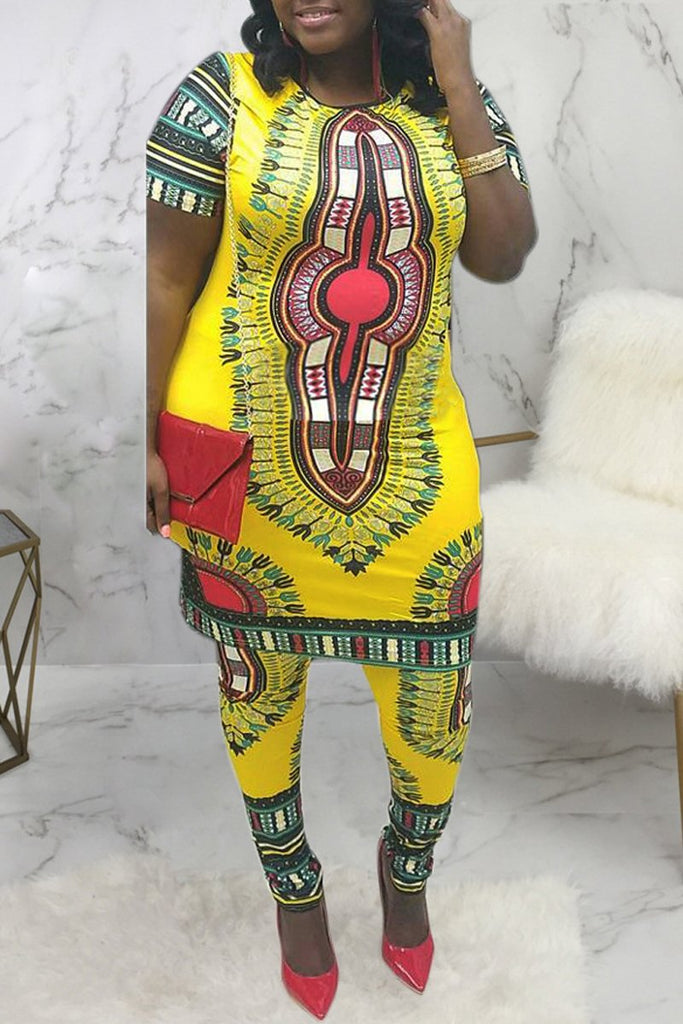 Dashiki Print Round Neck Casual Midi Dress
