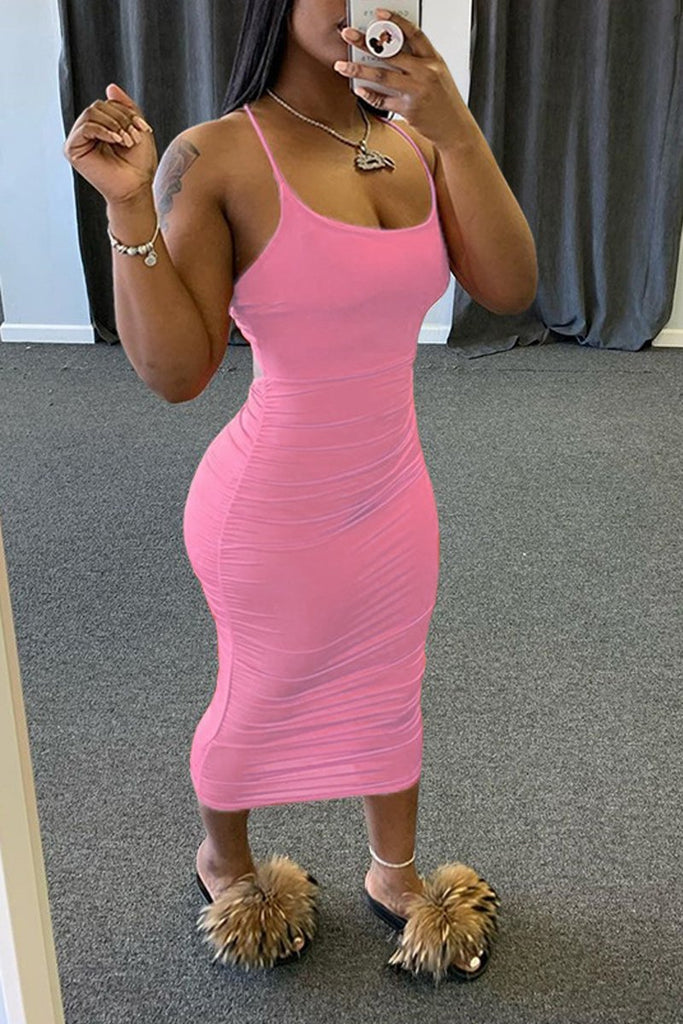 Spaghetti Straps Wrinkled Open Back Midi Dress