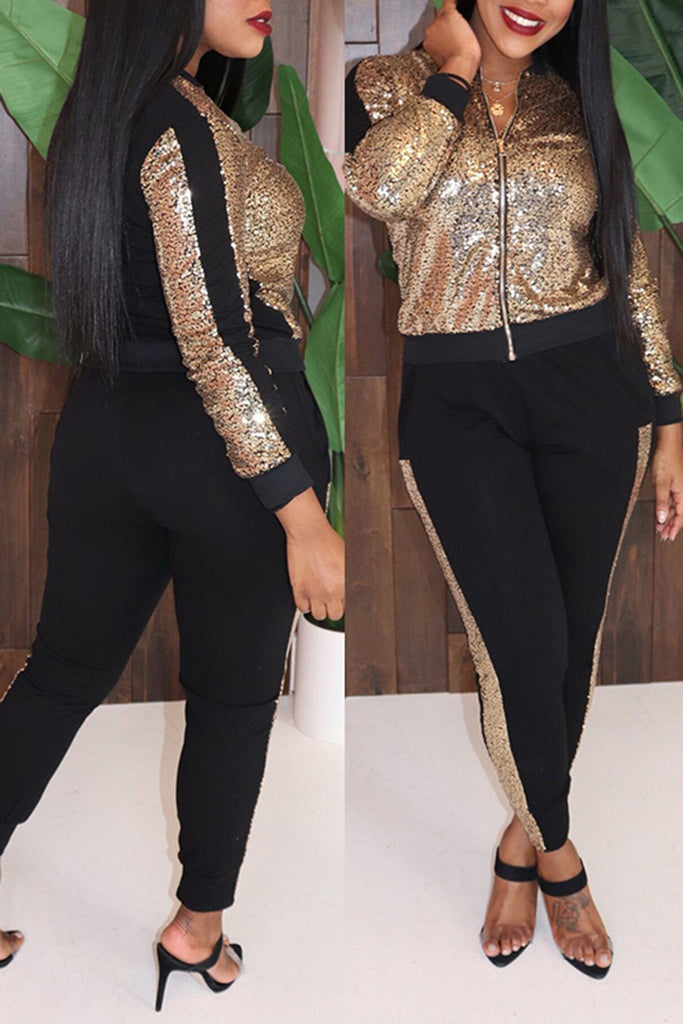 Zipper Collar Sequins Pocket Two Piece Outfits