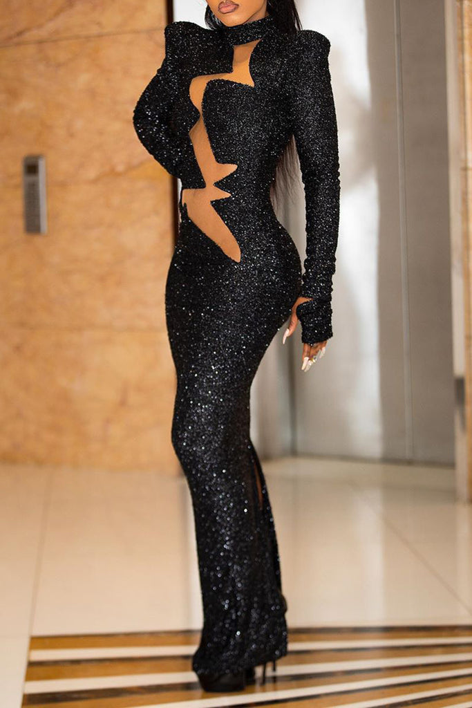 Sequins See-Through Pierced Club Maxi Dress