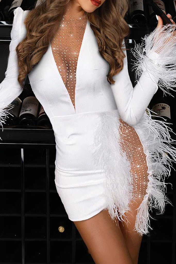 See-Through Hot Drilling Feather Club Dress