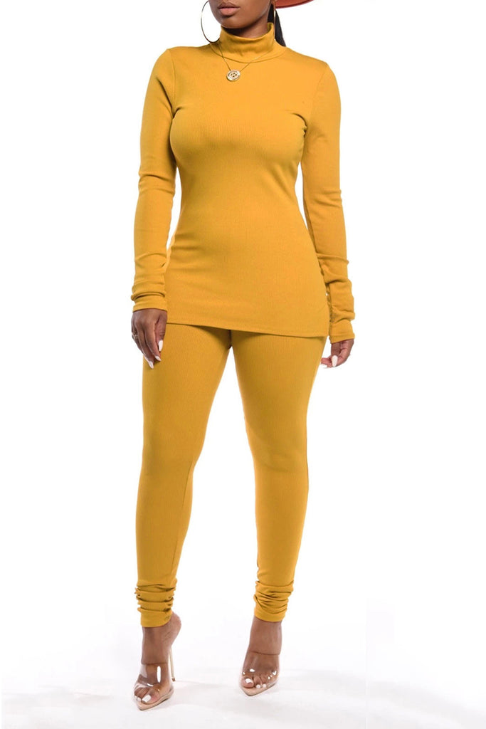 High Neck Solid Color Long Sleeve Top & Pants