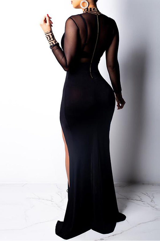 See-through Sexy High Slit Cutout Maxi Dress