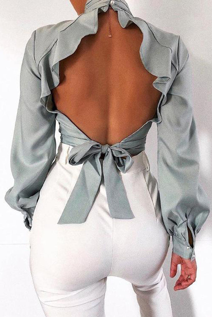 Ruffle Lace-up Open Back Blouse
