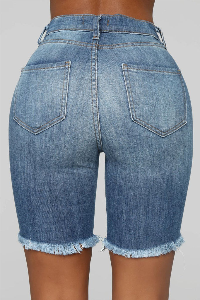 High Waist Hole Distressed Denim Shorts