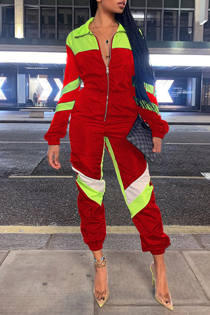 Patchwork Zipper Up Long Sleeve Jumpsuit