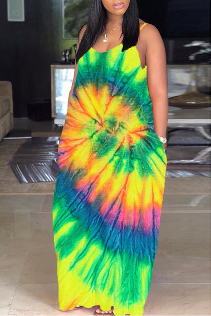 Spaghetti Straps Tie Dye V-neck Maxi Dress