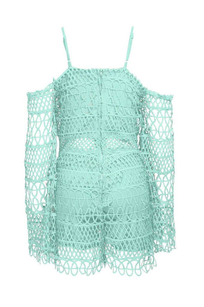 Cold Shoulder Lace Solid See-through Romper