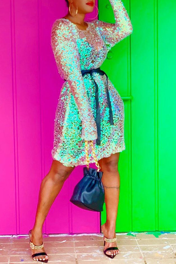 Sequin Belted Long Sleeve Midi Dress