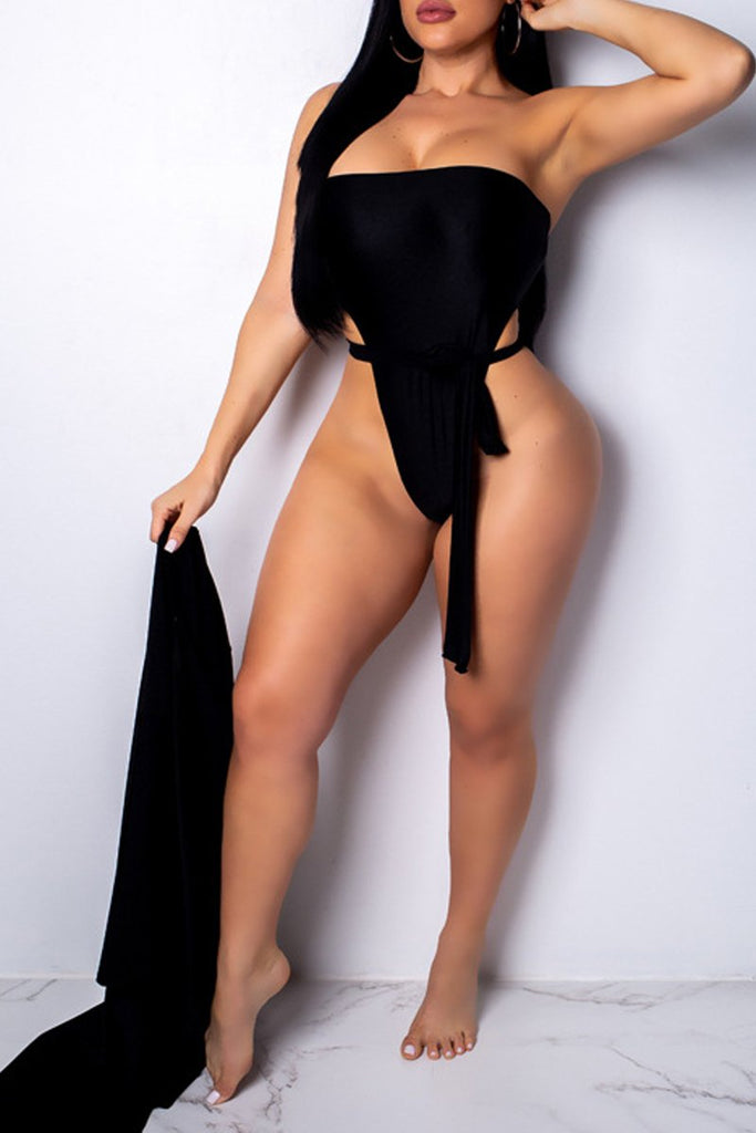 Solid Color Open Back Off The Shoulder Two Pieces Swimwear