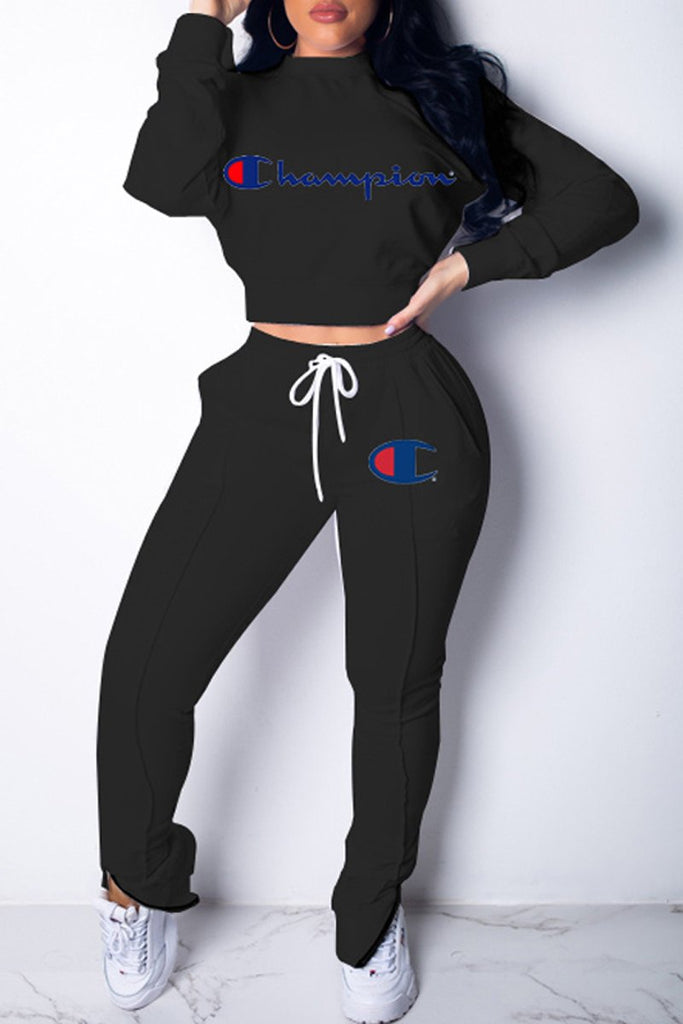 Solid Color Casual Zipper Letter Print Long Sleeve Two Piece Outfits
