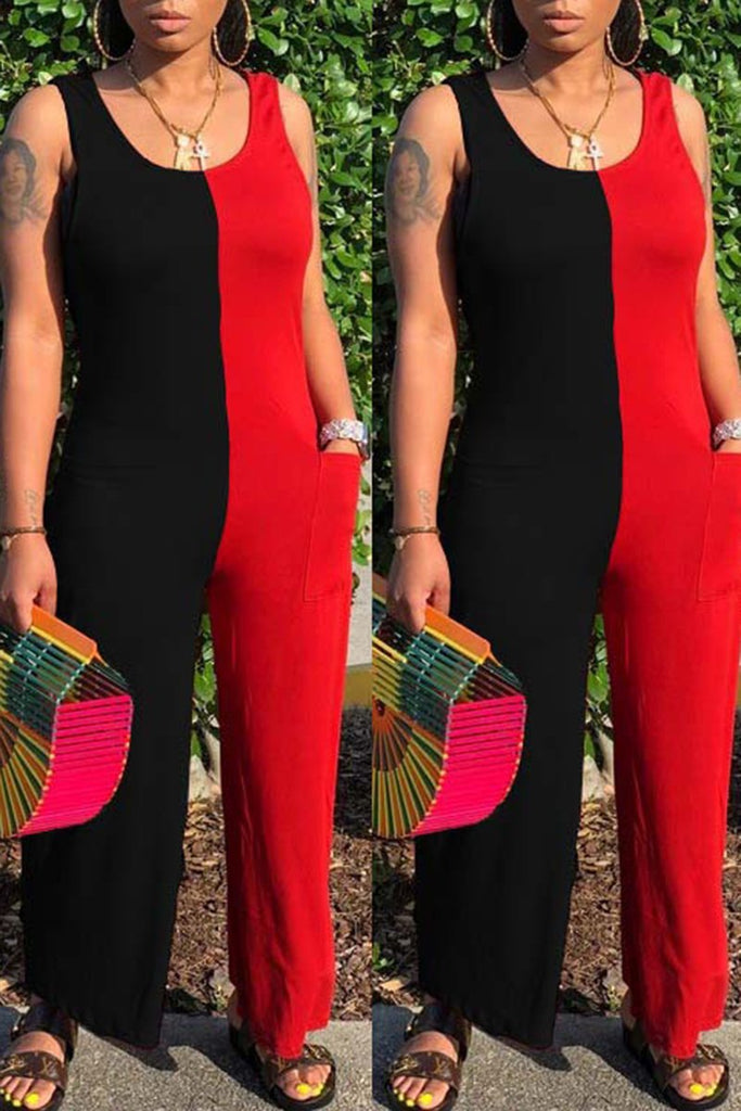 Color Block Pocket Round Neck Jumpsuit