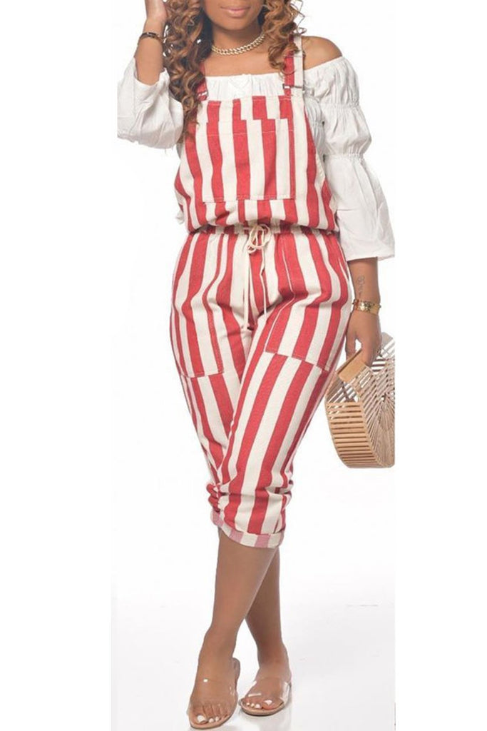 Lace Up Striped Plus Size Overall