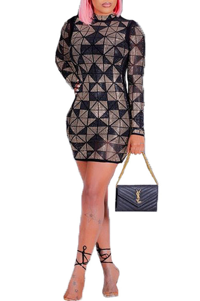 Geometric Sequins High Neck Mini Dress