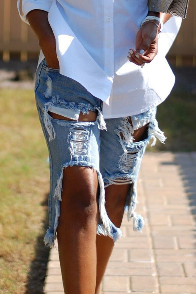 Loose Plus Size Hole Distressed Shorts
