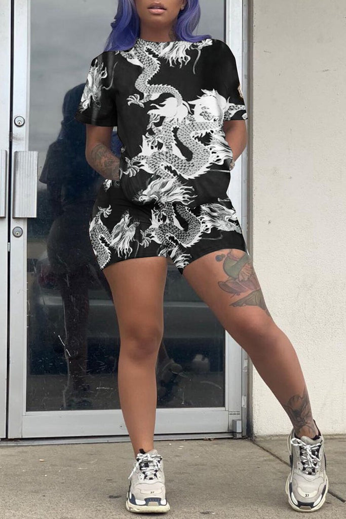 Plus Size Short Sleeve Print Two Piece Sets
