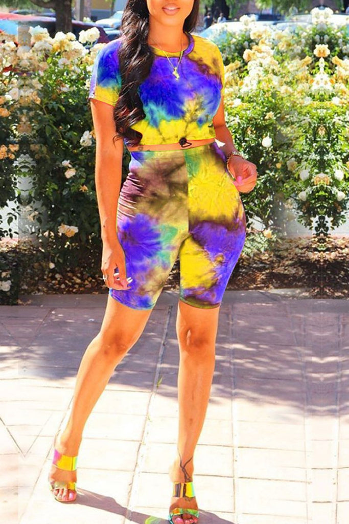 Tie Dye Tie Up Round Neck Top & Shorts