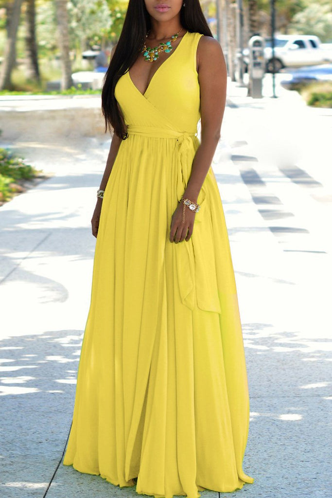 Deep V Neck Lace-up Sleeveless Maxi Dress
