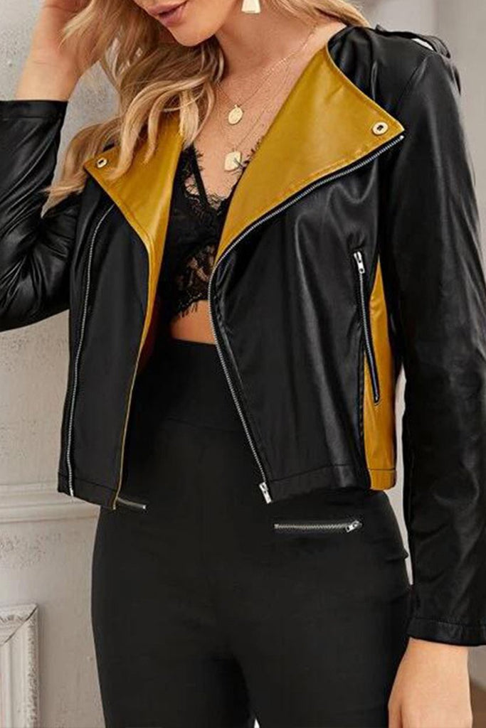 Color Patchwork Wide Lapel PU Jacket