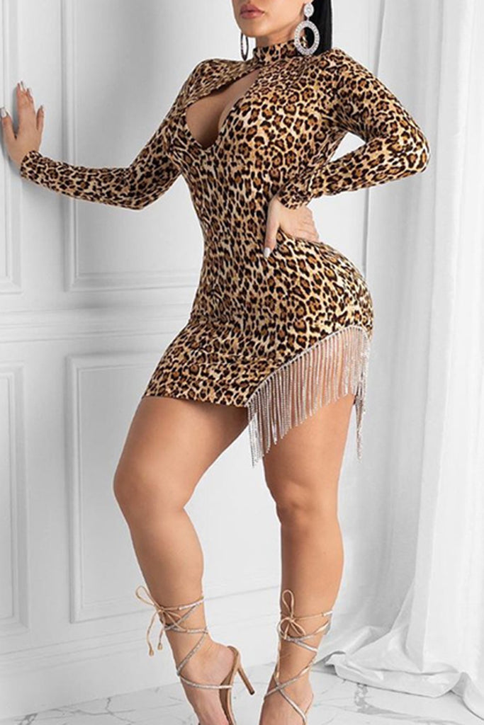 Leopard Print Cutout Tassels Club Dress
