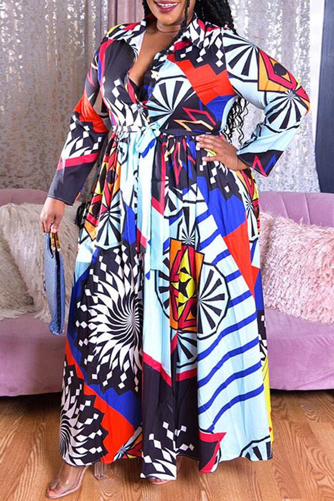 Plus Size Colorful Digital Print Belted Maxi Dress
