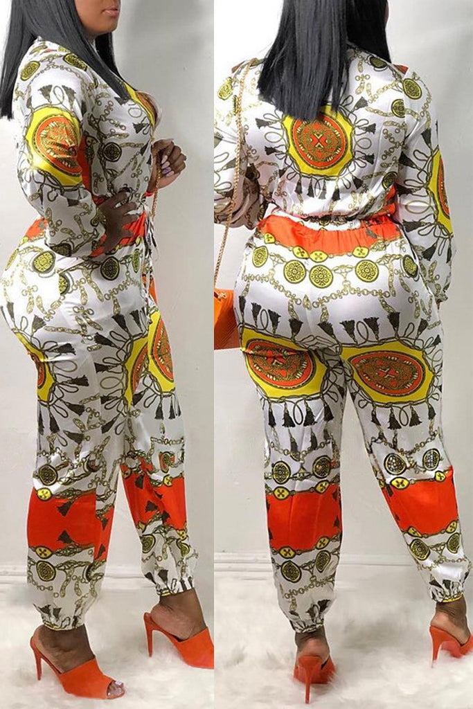 Drawstring Waist Placement Print Jumpsuit
