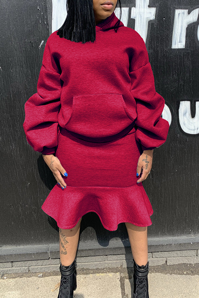 Ruffled Pocket Solid Color Two Piece Dresses