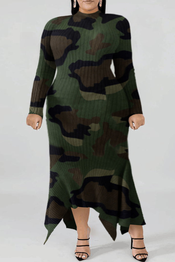 Plus Size Camouflage Printed Asymmetric Hem Dress