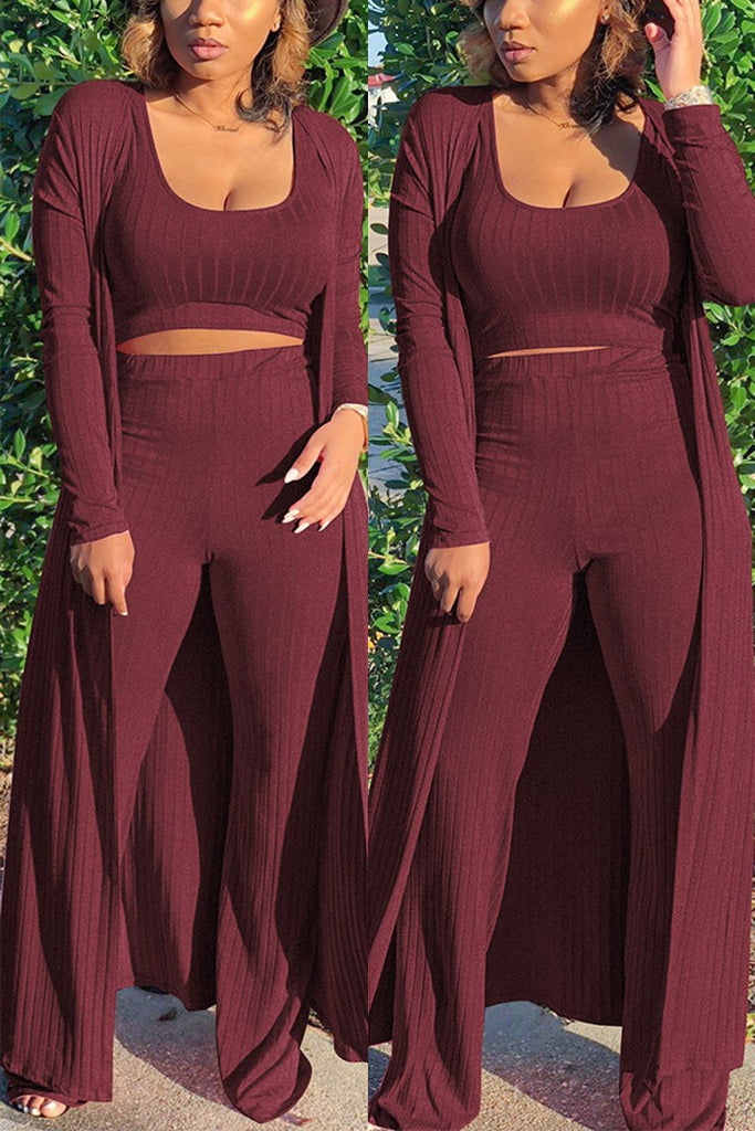 Scoop Neck Plus Size Three Pieces Outfits