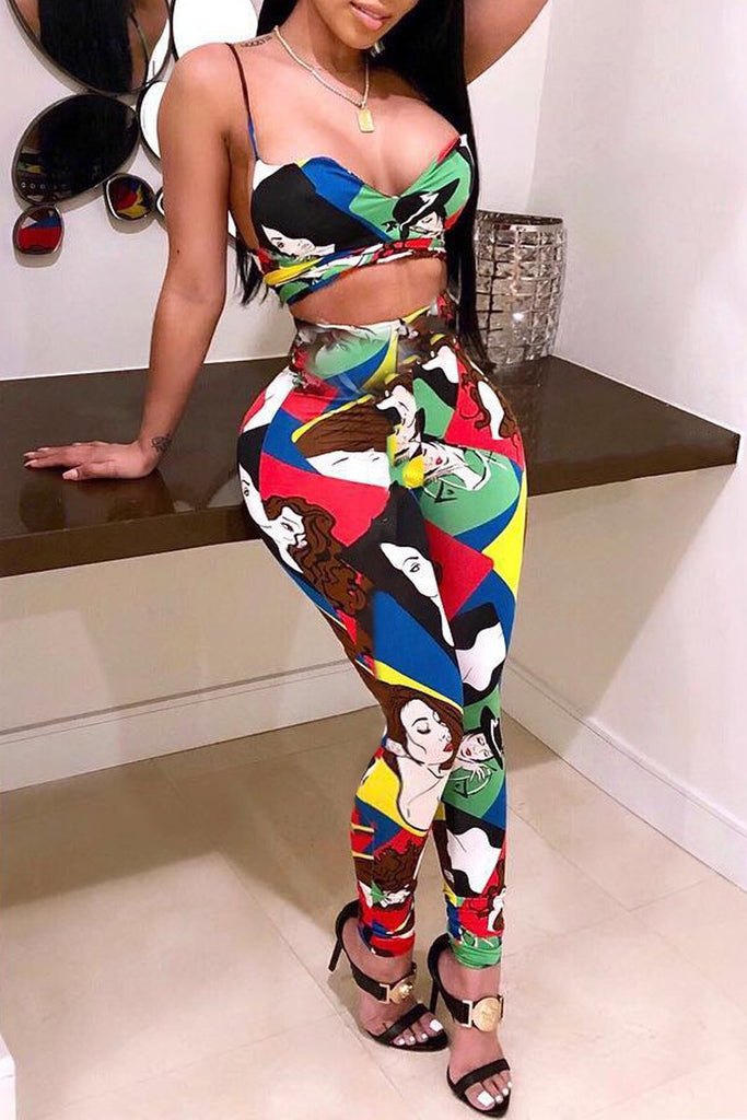 Plus Size Digital Print Spaghetti Straps Top & Pants