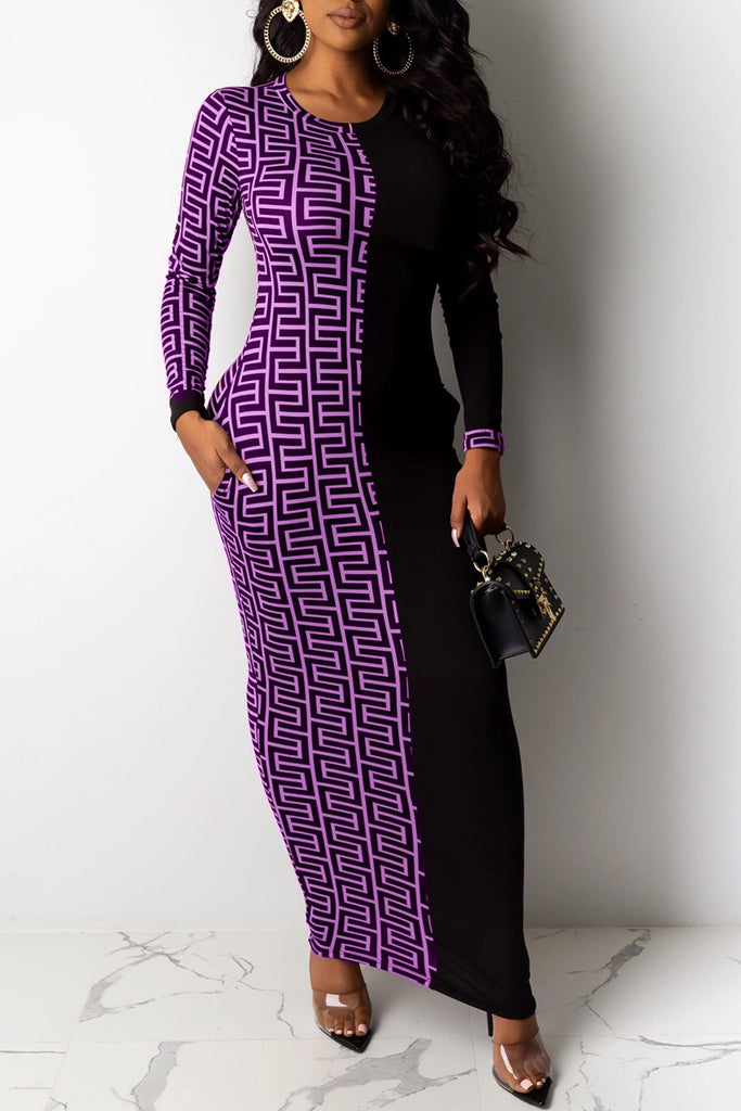 Geometric Print Patchwork Maxi Dress