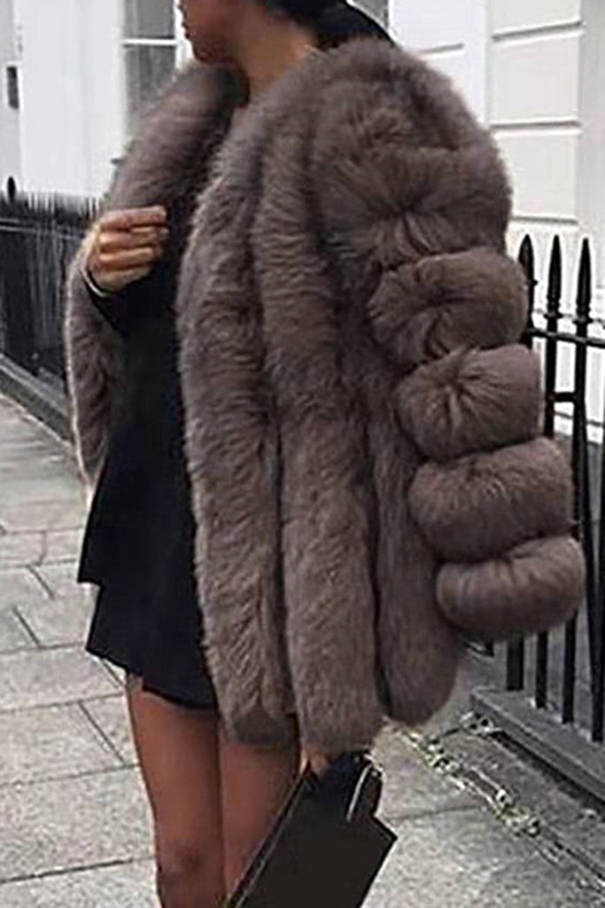 Fur Solid Color Plus Size Coat